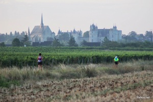 Château de Montreuil-Bellay in the distance - stunning when we ran right past it.